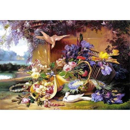"Пазлы копия картины ""Изысканный натюрморт с цветами"" (""Elegant Still Life with Flowers""), Eugene Bidau"