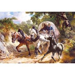 "Пазлы копия картины ""Повозка в ущелье"" (""Covered Wagon in a Narrow Path""), Rudolf Koller"