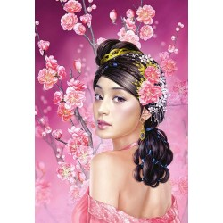 "Пазлы картина ""Японская девушка в цветах"""